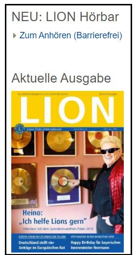 Screenshot der Seite www.lions.de mit der Option, den aktuellen LION barrierefrei vorlesen zu lassen.